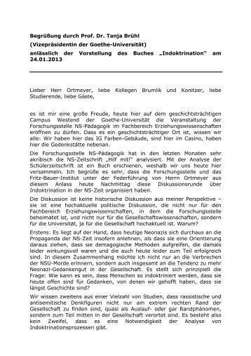 Begrüßung durch Prof. Dr. Tanja Brühl - Forschungsstelle NS ...