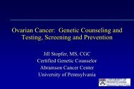 Ovarian Cancer: Genetic Counseling and Testing, Screening and ...