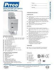 Model SG14RS with Options Tube Fired Gas Fryer M o d e l S G 1 4 ...