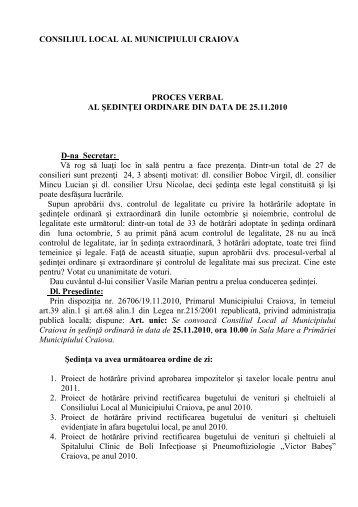 Proces verbal din data de 25.11.2010 - Primaria Craiova