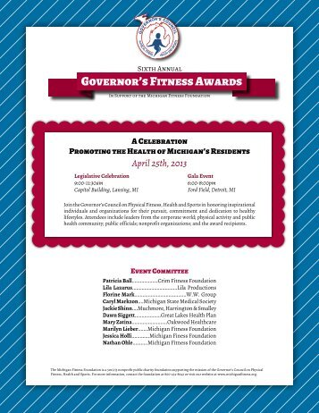 Governor's Fitness Awards - Michigan Fitness