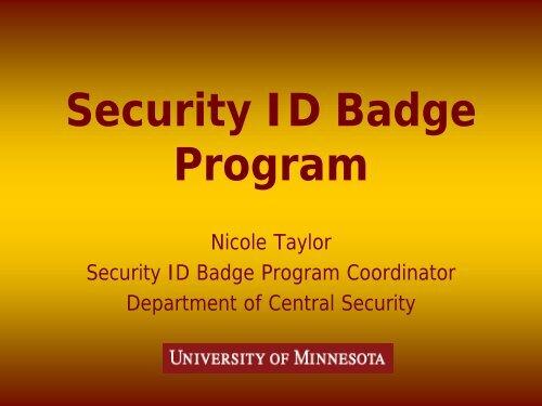 Security ID Badge Program - Facilities Management - University of ...