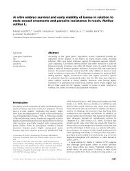 In vitro embryo survival and early viability of larvae in relation to ...