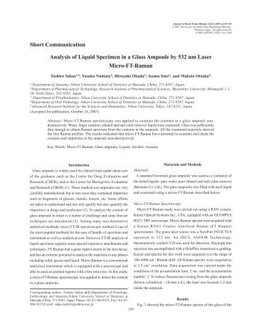 Analysis of Liquid Specimen in a Glass Ampoule by 532 nm Laser ...