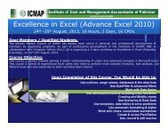 Excellence in Excel (Advance Excel 2010) - Institute of Cost and ...