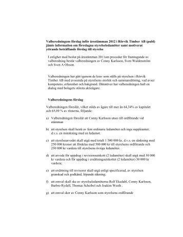Valberedningens förslag inför årsstämman 2012.pdf - Rörvik Timber