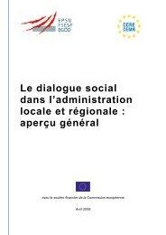 Le dialogue social dans l'administration locale et régionale : aperçu ...