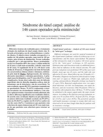 Síndrome do túnel carpal: análise de 146 casos operados pela ...