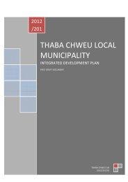 Thaba Chweu Local Municipality - Co-operative Governance and ...