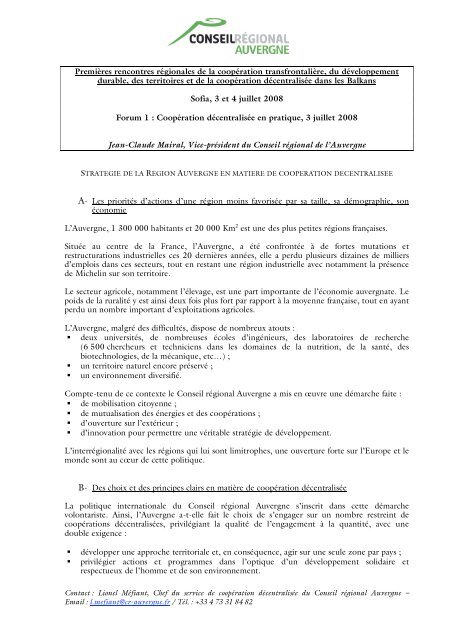 Conseil Régional d'Auvergne - Cités Unies France