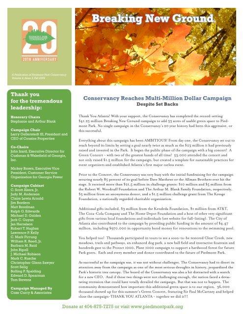 Breaking New Ground Piedmont Park Conservancy