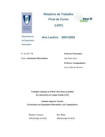 Relatório de Trabalho Final de Curso - the Spoken Language ...
