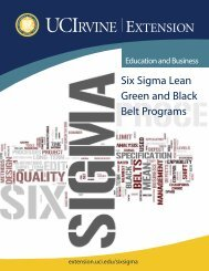 Six Sigma Lean Green and Black Belt Programs - UC Irvine Extension