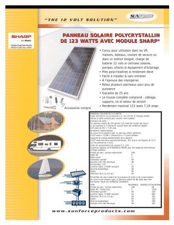 panneau solaire polycrystallin de 123 watts avec module sharp ...