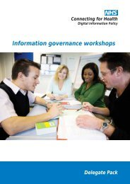 Information governance workshops - NHS Connecting for Health