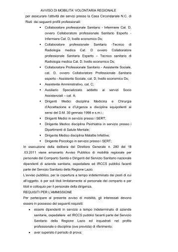 avviso di mobilita' volontaria regionale - Azienda USL Rieti