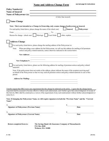 Name/Address Change Request Form - American General Life ...