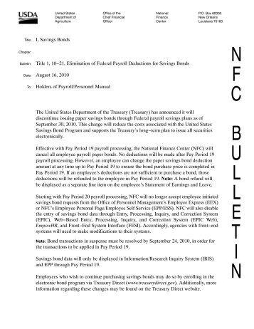 I, Savings Bonds Title 1, 10−21, Elimination of Federal Payroll ...