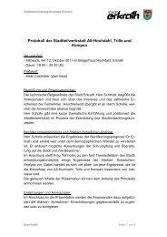Protokoll der Stadtteilwerkstatt Alt-Hochdahl, Trills ... - Zukunft Erkrath