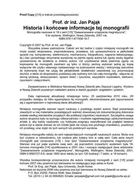Historia I Koåcowe Informacje Tej Monografii Menu 1
