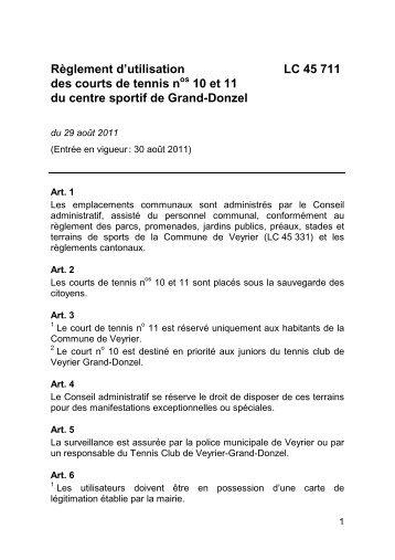Règlement d'utilisation des courts de tennis nos 10 et 11 ... - Veyrier