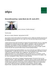 Generalforsamling i Jyske Bank den 20. marts 2013 - ATP