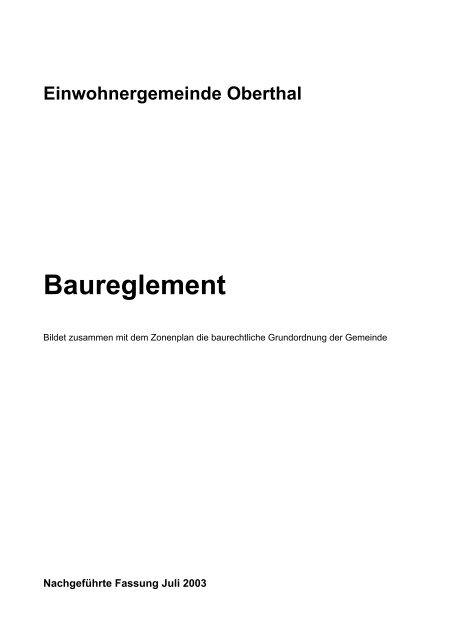 Einwohnergemeinde Oberthal Baureglement
