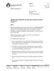 Tillstånd enligt miljöbalken till hantering av kemiska produkter, SNI ...