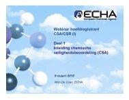 (I) Deel 1 Inleiding chemische veiligheidsbeoordeling (CSA) - Europa