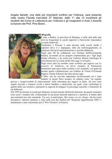 Angela Nanetti, una delle più importanti scrittrici per l'infanzia, sarà ...