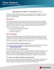 Time Matters Version 11 Upgrade Checklist - LexisNexis Support ...