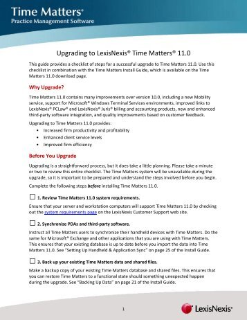 time matters version 11 upgrade checklist lexisnexis support