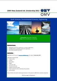 OMV New Zealand Ltd. Scholarship 2012 - University of Canterbury