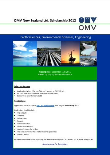 OMV New Zealand Ltd. Scholarship 2012 - University of Canterbury