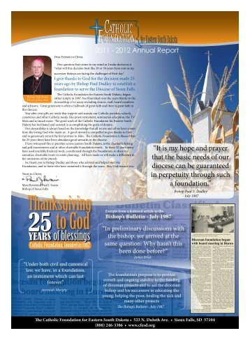 2012 Annual Report - Catholic Diocese of Sioux Falls
