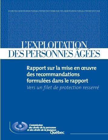 L'exploitation des personnes âgées. Rapport sur la mise ... - CDPDJ