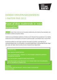 DANSKE ERHVERVSAKADEMIERS I-FAKTOR PRIS 2012 ... - KEA