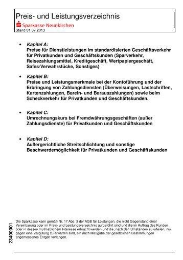 Preis- und Leistungsverzeichnis 01.07.2013 - Sparkasse Neunkirchen