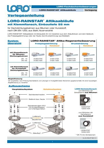 Verlegeanleitung LORO-RAINSTAR® Attikaabläufe