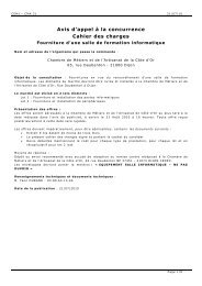 Avis d'appel à la concurrence Cahier des charges - Chambre de ...