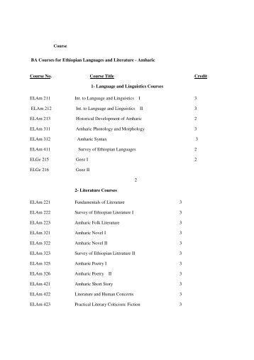 BA Courses for Ethiopian Languages and Literature - Amharic ...