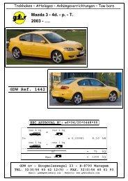 GDW Ref. 1442 Mazda 3 - 4d. - p. - Home - AHK - RATGEBER