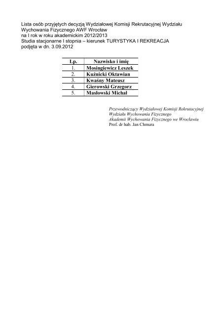 Wyniki z posiedzenia Wydziałowej Komisji Rekrutacyjnej Wydziału ...