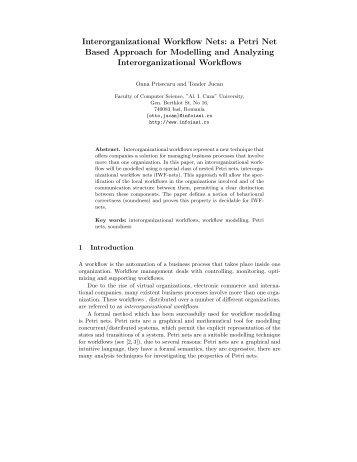 Interorganizational Workflow Nets: a Petri Net ... - Profs.info.uaic.ro