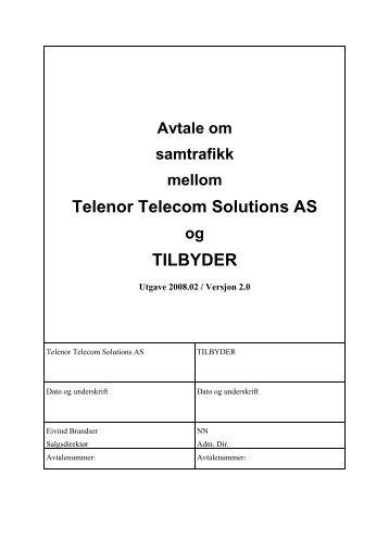 Avtale om samtrafikk versjon 2008.02 - Jara - Telenor