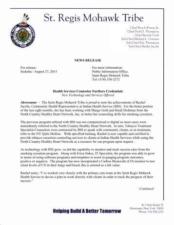Download pdf version - Saint Regis Mohawk Tribe