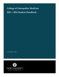 College of Osteopathic Medicine 2013 – 2014 Student Handbook