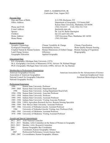 JOHN HARRINGTON, JR. Curriculum Vitae January 2012 Personal ...