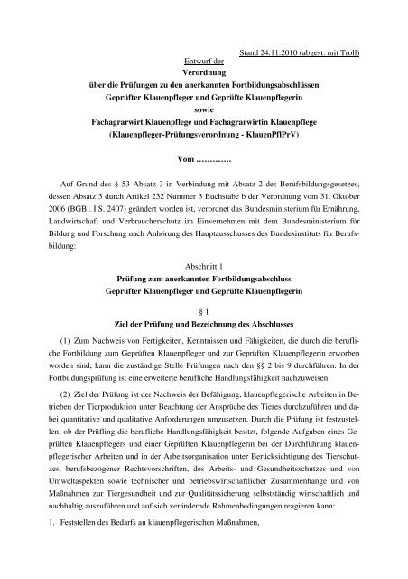 Geprüfte/r Klauenpfleger/in sowie Fachagrarwirt/in Klauenpflege