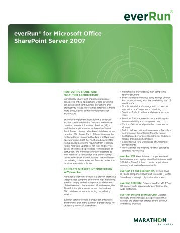 everrun® for microsoft office SharePoint Server 2007 - 24/7 Uptime